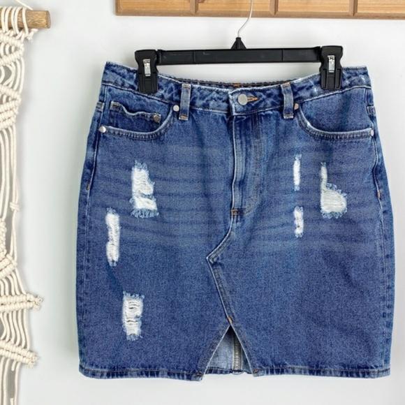 H&M   distressed denim skirt
